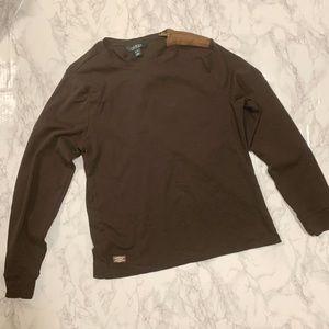 Ralph Lauren Zip Shoulder Long Sleeve Top - sz XL